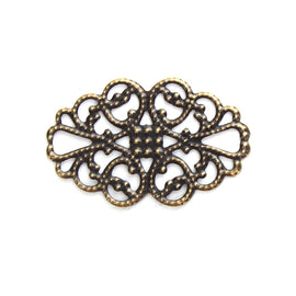 50 Bronze Flat Filigree Flower Metal Embellishment Findings, 31mm, fil0078