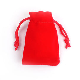 "10 Velvet Gift Bags, RED, drawstring, usable space 7x2cm, 2-7/8"" x 2"",  bag0096"