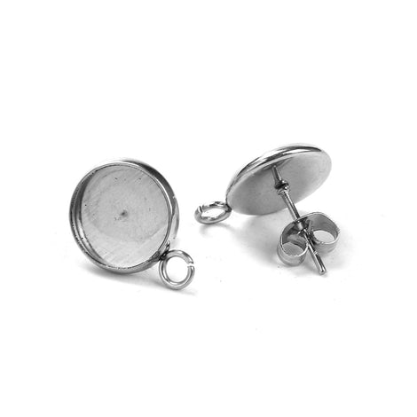 20 stainless steel cabochon bezel setting earring post components, with loop, fits 10mm round inside bezel, fin0737