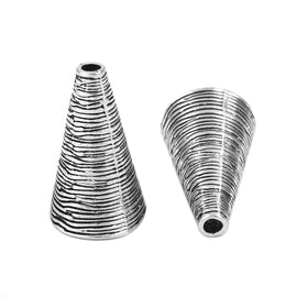 10 Silver Tassel Caps Bead Cone Spiral Textured Metal fits 13mm fin0780