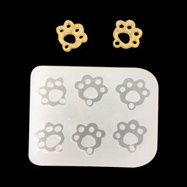 "PAW PRINT Resin Mold, Silicone Mold to make charms 1/2"" long, cabochons, reusable, tol0915"