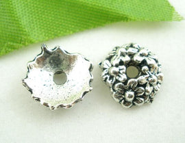 60 Antique Silver RING OF FLOWERS Bead End Caps 6mm fin0138b