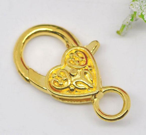 5 Large Bright GOLD Fancy HEART LOBSTER Clasps .  Decorative Design fcl0038a