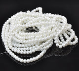 "6mm BRIDAL WHITE Round Glass Pearls . long 32"" strand . about 145 beads  bgl0410"