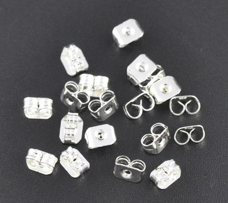 50 Small Earring Backs . Bright Silver Metal  fin0296