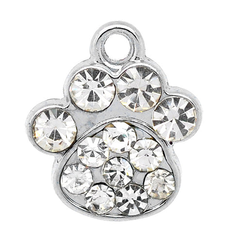 silver paw print charms with rhinestone crystals