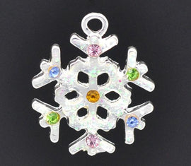 4 Silver RHINESTONE SNOWFLAKE CHARMS or Pendants . multi colored crystals . che0241
