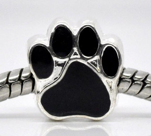 10 Silver Metal and Enamel Jet BLACK PAW Print Charm European Bead for large hole European chains bme0240b