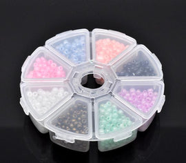 Glass Seed Beads Kit, storage box, 100grams mixed colors 6/0, bsd0341