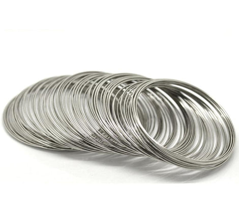 "100 Silver Tone Steel Metal Memory Wire Loops  55mm, small bracelet, about 2-1/4"" diameter, 18 gauge wir0006"
