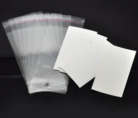"100 Resealable Self-Sealing Bags with Display Card, usable space 10x5.5cm (4"" x 1-1/4"") bulk cello jewelry bags, cellophane bag0077"