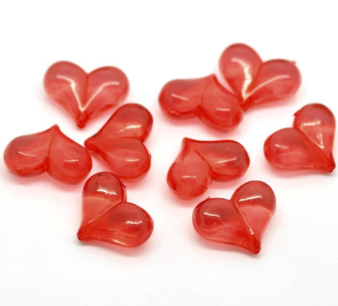 "10 BRIGHT RED Acrylic Lucite Valentine's Day Hearts Beads 7/8"" wide, bac0126a"