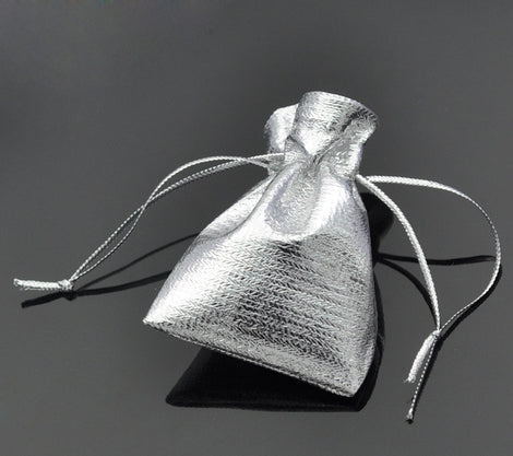 "100 Silver Gift Bags, metallic silver with drawstring, usable space 4.2x4.5cm, 1-5/8"" x 1-3/4"" favor bags, bag0068"