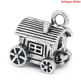 4 COVERED WAGON Charms, Western Theme Charms, Travel Charms, Silver Tone Pewter Pendants, chs2077