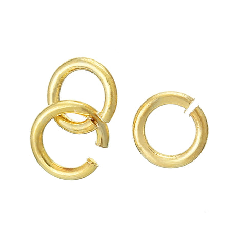 300 Gold Open Jump Rings, 4mm OD, 18kt gold plated, 2.6mm ID, 22ga, 0.7mm wire, 22 gauge, jum0219b