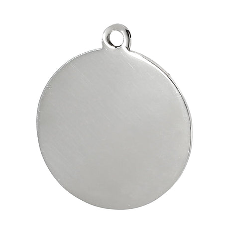 "2 Stainless Steel Round Charm Pendants Stamping Blanks, 1"", 26mm diameter, thick 14 gauge flat disc circle round, msb0260"