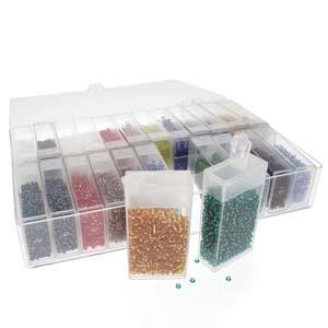 Seed Bead Assortment Kit, 6/0 beads, 24 flip top tubes with glass beads and storage box, bsd0772