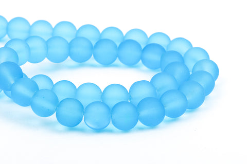 10mm Frosted Medium BLUE Glass Beads, full strand, about 40 beads,  bgl1160