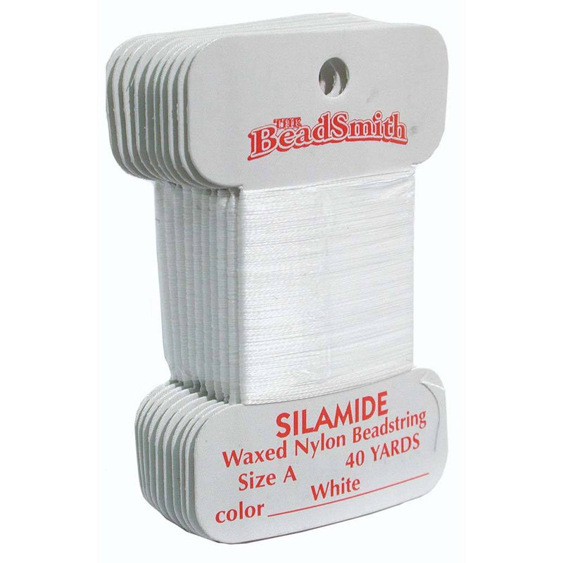 White Silamide Bead Thread, Size A, Waxed nylon beadstring, 40 yds cor0335