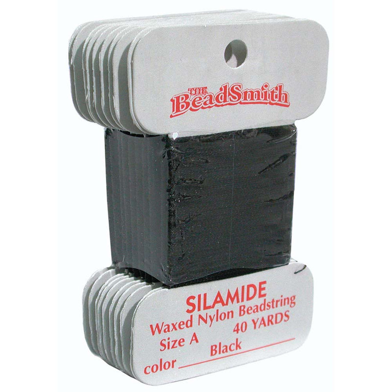 Black Silamide Bead Thread, Size A, Waxed nylon beadstring, 40 yds cor0330