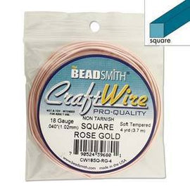 18ga Square Wire, Rose Gold Craft Wire, 4 yards (12 feet), wir0106