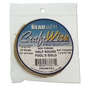 20ga Half Round Craft Wire, Fools Gold Tarnish Resistant, 4 yards (12 feet) wir0131