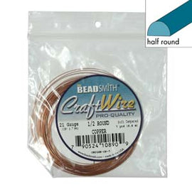 18ga Half Round Craft Wire, Copper Tarnish Resistant, 7 yards (21 feet) wir0126