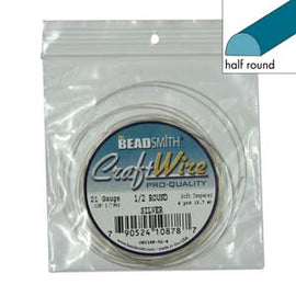 21ga Half Round Craft Wire, Silver Tarnish Resistant, 4 yards (12 feet) wir0132