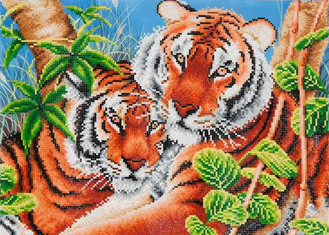 "Rhinestone Painting Kit, TENDER TIGERS, Diamond Dotz Diamond Embroidery, Diamond Facet Art, Bling Wall Art, 20x14"" canvas kit0143"