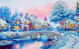 "Rhinestone Painting Kit, WINTER VILLAGE, Diamond Dotz, Diamond Facet Art, Bling Wall Art 31x20"" canvas kit0148"