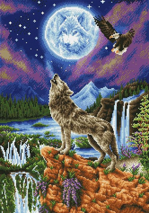 Diamond Painting Kit, Mystic Wolf, Diamond Dotz Diamond Embroidery, Diamond Facet Art, Bling Wall Art, kit0373