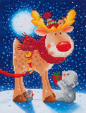 "Rhinestone Painting Kit, REINDEER GIFT, Diamond Dotz Diamond Embroidery, Diamond Facet Art, Bling Wall Art 14x11"" canvas kit0130"