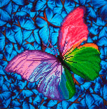 "Rhinestone Painting Kit, BUTTERFLY RAINBOW, Diamond Dotz Diamond Embroidery, Diamond Facet Art Kit, Bling Wall Art, 12x12"" canvas kit0065"