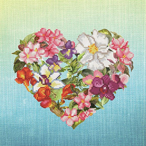 "Diamond Painting Kit FLOWER HEART Diamond Dotz 15""x15"" kit0193"