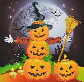 "Diamond Painting Kit HALLOWEEN SCARECROW Diamond Dotz Facet Art Kit, Bling Wall Art, 16.5"" canvas kit0220"