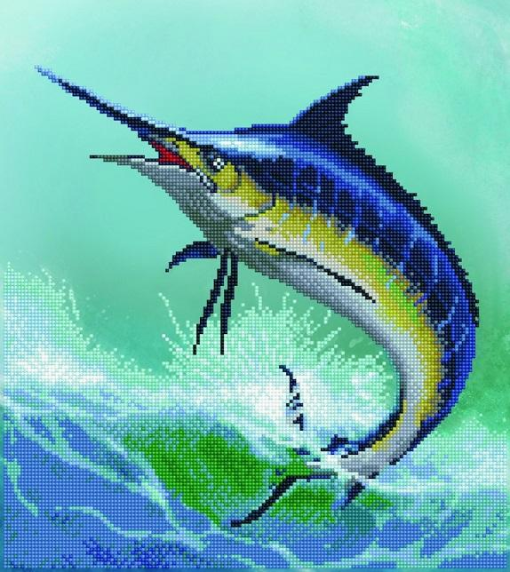 Diamond Painting Kit, Monarch of the Sea Marlin Fish, Diamond Dotz Facet Bling Wall Art kit0248