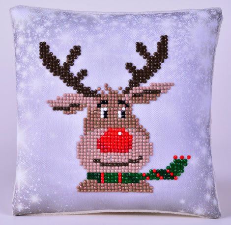 "Rhinestone Painting Kit, CHRISTMAS REINDEER Pillow, Diamond Dotz Diamond Embroidery, Diamond Facet Art, 7X7"" pillow kit0158"