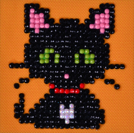 "Rhinestone Painting Kit, CAT Diamond Dotz Diamond Embroidery, Halloween Diamond Facet Art, Bling Wall Art 3x3"" canvas kit0116"