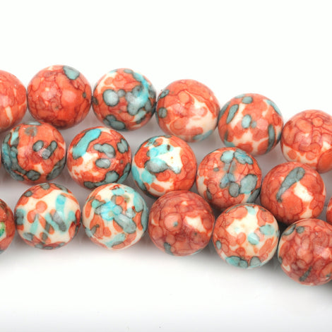 6mm MOSAIC HOWLITE Round Beads,  turquoise blue, dark orange, white, full strand, about 63 beads, how0496