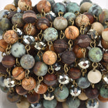 3 feet (1 yard) Gemstone Crystal Rosary Chain, Picture Jasper, Matte Chrysoprase, bronze, 8mm faceted round and rondelle beads, fch0664a