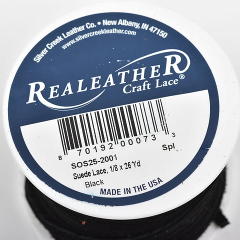 "1/8"" Suede Leather Lace, BLACK, real leather by the yard, Realeather made in USA, 3mm wide, 25 yards, Lth0022"