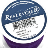 "1/8"" Suede Leather Lace, ROYAL PURPLE, real leather by the yard, Realeather made in USA, 3mm wide, 25 yards, Lth0025"