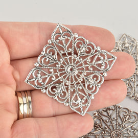 20 Large Antique Silver Filigree Squares, flat thin findings for jewelry making, crafts  FIL0004