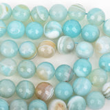 6mm Round Agate Beads Robin's Egg BLUE Faceted Turquoise Blue AGATE Natural Gemstones, full strand, 60 beads, gag0338