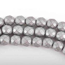 8mm Matte Hematite Round Beads, SILVER Titanium Coated Gemstone Beads, faceted, full strand, 51 beads, ghe0151
