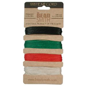 0.55mm Hemp Cord Primary Colors, 4 pack, 10lb test, 53 yards, cor0313