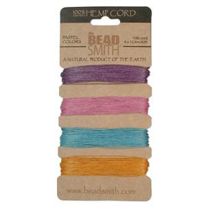 0.55mm Hemp Cord Pastel Colors, 4 pack, 10lb test, 53 yards, cor0312