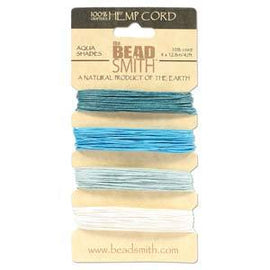 0.55mm Hemp Cord Aqua Shades, 4 pack, 10lb test, 53 yards, cor0362