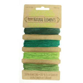 0.55mm Hemp Cord Emerald Green Shades, 4 pack, 10lb test, 53 yards, cor0309