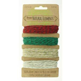 0.55mm Hemp Cord Christmas Holiday Colors, 4 pack, 10b test, 53 yards, cor0301